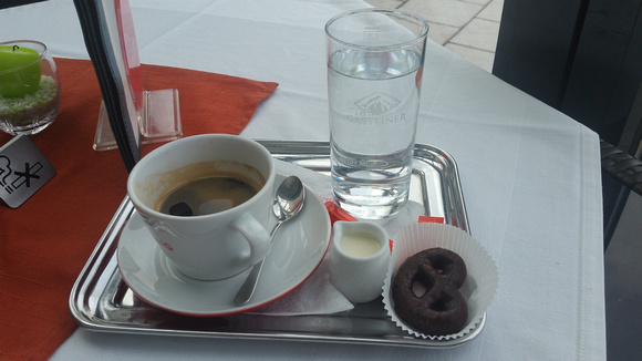 Coffee and a treat while I wait for the train